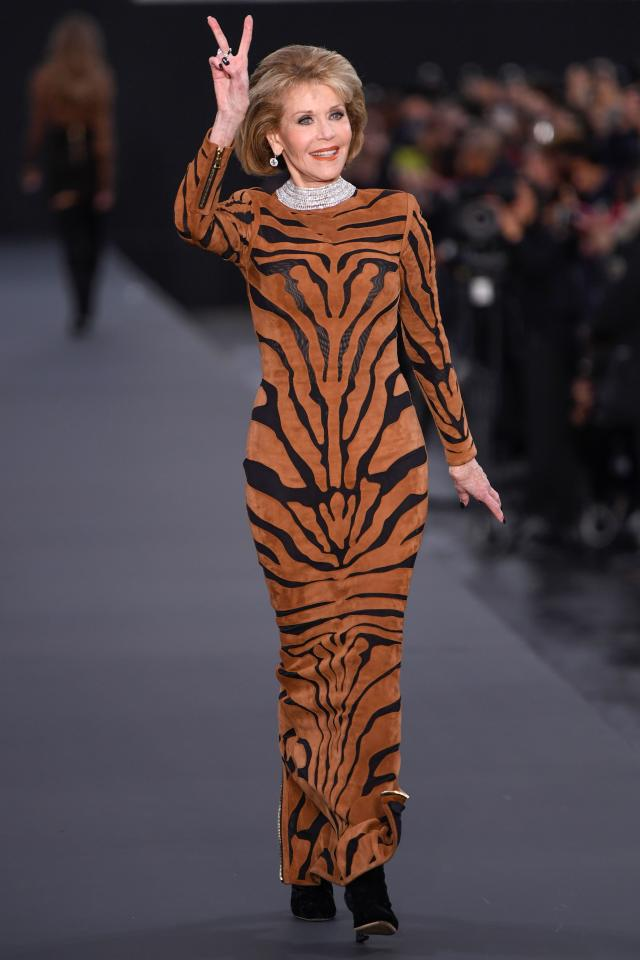 <p>The 79-year-old star wowed in a slim-fitting tiger print dress. <i>[Photo: Getty]</i> </p>