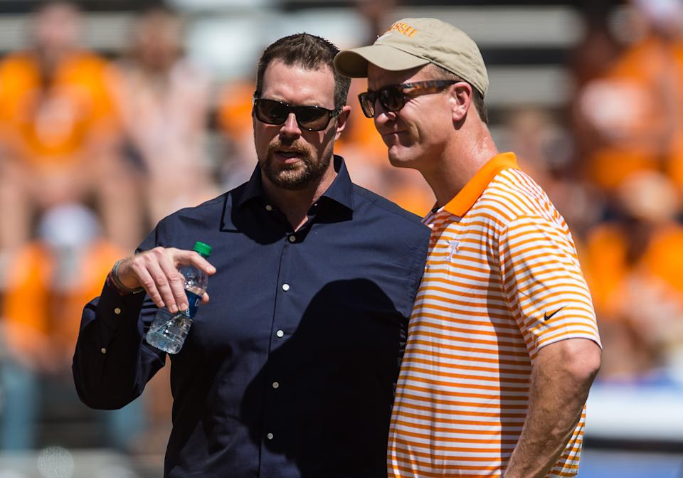 Peyton Manning, right, and Ryan Leaf, left, had very similar Wonderlic scores but very different NFL careers. (Photo by Bryan Lynn/Icon Sportswire via Getty Images)