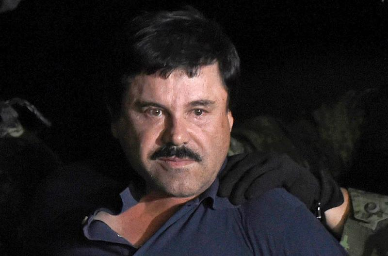 "The verdict could result in life behind bars for Joaquin ""El Chapo"" Guzman, who was accused of smuggling tons of cocaine, heroin, methamphetamine and marijuana into the United States over a 25-year period (AFP Photo/ALFREDO ESTRELLA)"