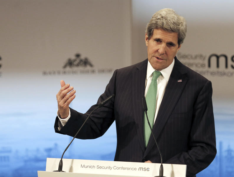 US Secretary of State John Kerry addresses the participants during the 50th Security Conference in Munich, Germany, Saturday, Feb. 1, 2014. The conference on security policy takes place from Jan. 31, 2014 to Feb. 2, 2014. (AP Photo/Frank Augstein)