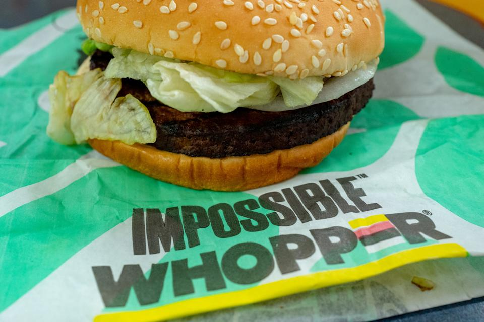Close-up of Impossible Whopper, a meat-free item using engineered, plant-protein based burger patty from food technology company Impossible, during a limited market test at a Burger King restaurant in the San Francisco Bay Area, Danville, California, June 26, 2019. (Photo by Smith Collection/Gado/Getty Images)