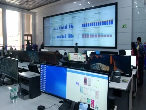 Visuals from Integrated Command and Control Centre in Delhi. (Photo/ ANI)