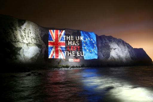 A farewell message was projected onto the White Cliffs of Dover, on the southern coast of England