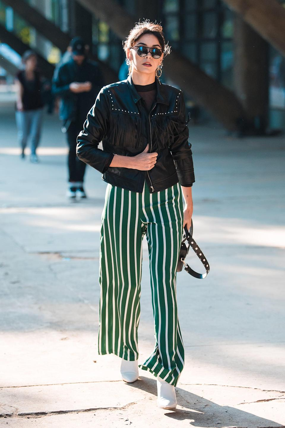 <p>In a vertical stripe, trousers like this become the whole outfit. </p>