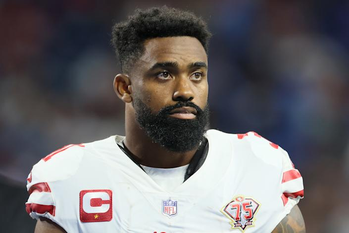 San Francisco 49ers running back Raheem Mostert (31) looks on from the sidelines during an NFL football game between the Detroit Lions and the San Francisco 49ers in Detroit, Michigan USA, on Sunday, September 12, 2021. (Photo by Amy Lemus/NurPhoto via Getty Images)
