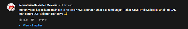 The health ministry's comment on Aliff's 'Lala Raya' music video. — Screenshot from Youtube/TV Terlajak Laris