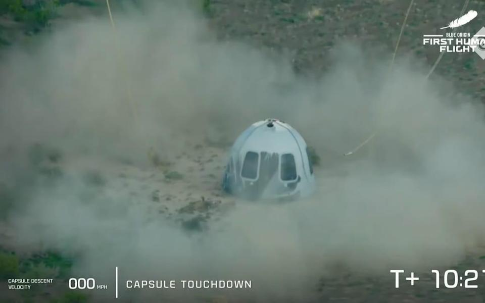 Blue Origin's New Shepard capsule containing Jeff Bezos and his fellow crew has landed back on Earth - Blue Origin