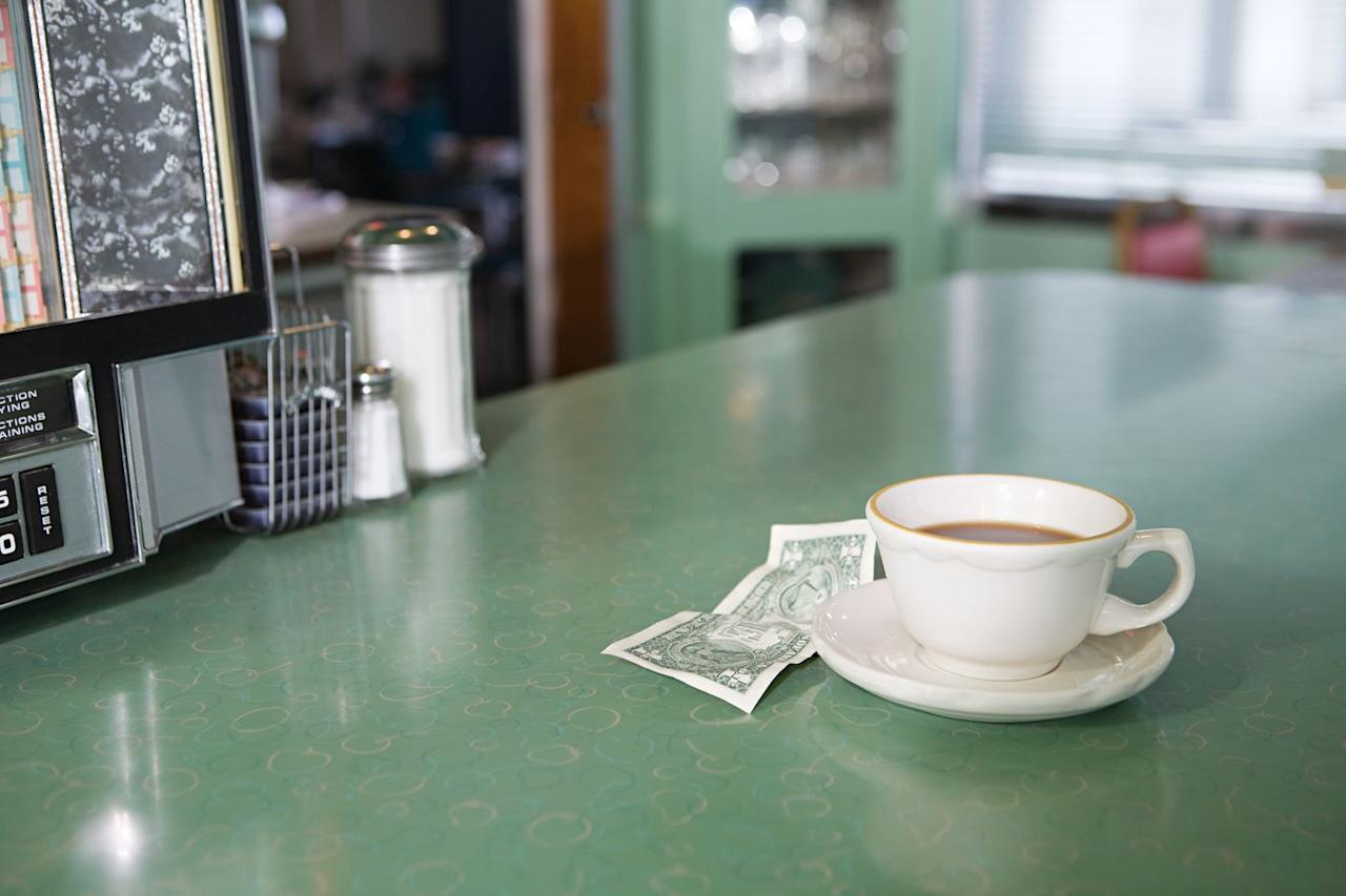 <p>The convenience of paying your bill with a credit card didn't become a viable option until the system was computerized in 1973, so diners always kept cash on hand. Luckily, settling the check was often as easy as throwing some change on the counter and walking out.</p>