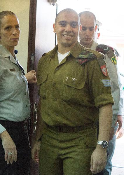 Israeli soldier Elor Azaria will begin his sentence on March 5, after his manslaughter trial in Tel Aviv, on February 21, 2017 (AFP Photo/JIM HOLLANDER)
