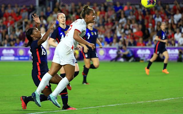 Nikita Parris got free of her marker but her weak header was saved by the USA goalkeeper - MIKE EHRMANN/GETTY IMAGES