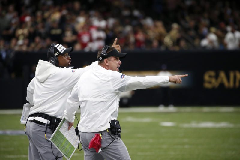 New Orleans Saints head coach Sean Payton calls out from the sideline in the first half an NFL football game against the San Francisco 49ers in New Orleans, Sunday, Dec. 8, 2019. (AP Photo/Butch Dill)