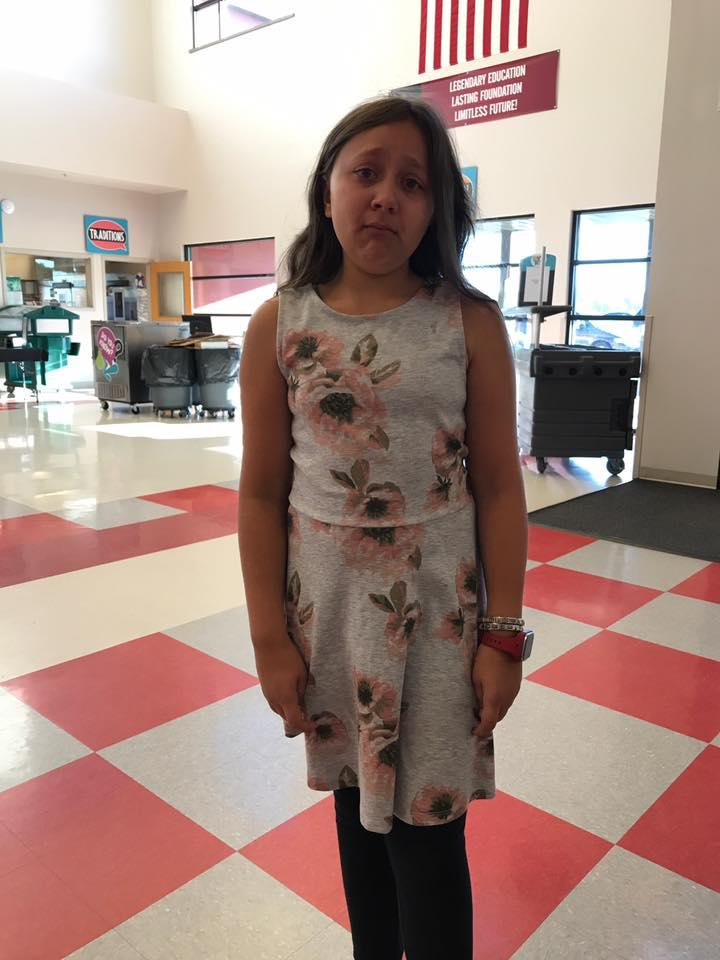 """b53a0518558c8 The school deemed this 11-year-old's dress """"distracting"""" because it showed  her shoulders. (Photo: Facebook/Sandra Lynn Beeler Darling)"""
