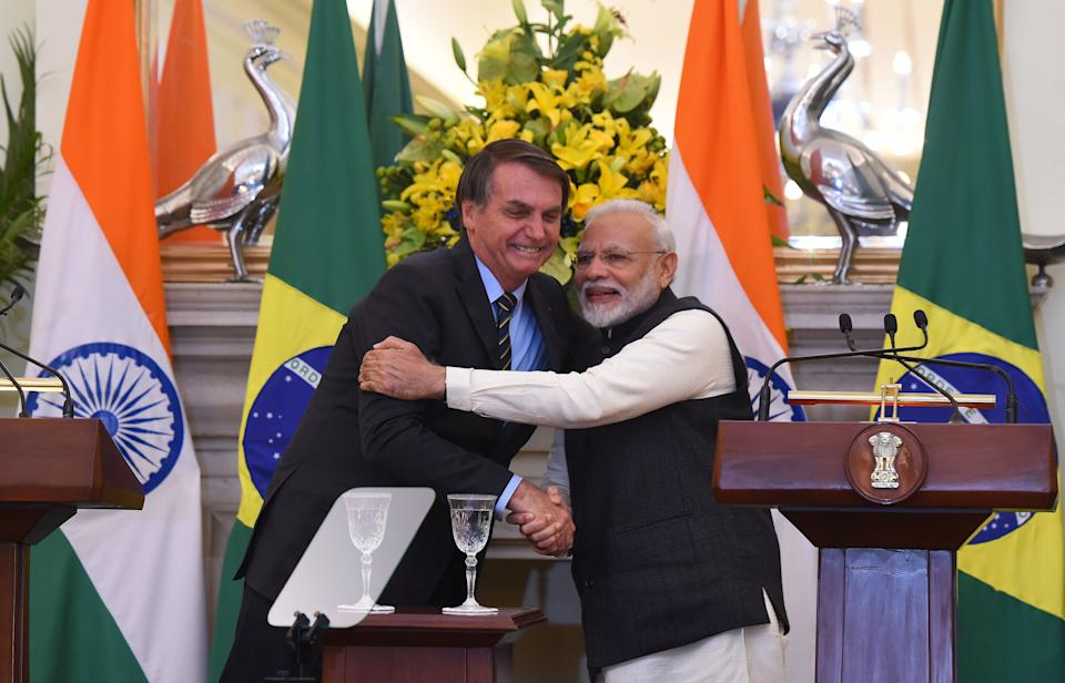 NEW DELHI, INDIA  JANUARY 25: Prime Minister Narendra Modi with Brazil's President Jair Messias Bolsonaro after a joint statement, at the Hyderabad House, on January 25, 2020 in New Delhi, India. India and Brazil exchanged eleven agreements following talks between Prime Minister Narendra Modi and Brazil President Jair Bolsonaro in New Delhi today. The agreements relate to several key areas including health, bio-energy cooperation, cultural exchange, geology and mineral resources. (Photo by Mohd Zakir/Hindustan Times via Getty Images)