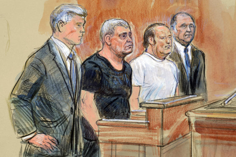 This courtroom sketch depicts from left, attorney Kevin Downing, Lev Parnas, Igor Fruman, and attorney Thomas Zehnle standing before U.S. Judge Michael Nachmanoff, at federal courthouse in Alexandria, Va., Thursday, Oct. 10, 2019. Parnas and Fruman, two Florida businessmen tied to President Donald Trump's lawyer and the Ukraine investigation, were charged with federal campaign finance violations. The charges relate to a $325,000 donation to a group supporting President Donald Trump's reelection. (Dana Verkouteren via AP)