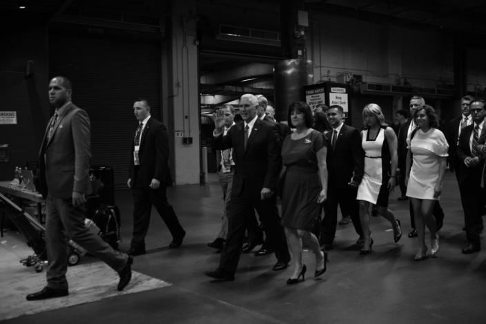<p>Gov. Mike Pence and family arrive during the convention in Cleveland. (Photo: Khue Bui for Yahoo News)</p>