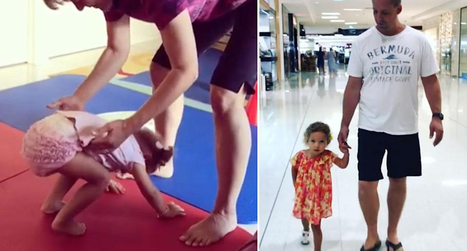 Keira at physiotherapy and (right) walking with her father. Source: Keira's CMV Journey