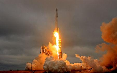 FILE PHOTO --  A SpaceX Falcon 9 rocket lifts off on a supply mission to the International Space Station from historic launch pad 39A at the Kennedy Space Center in Cape Canaveral, Florida, U.S., February 19, 2017. REUTERS/Joe Skipper/File photo