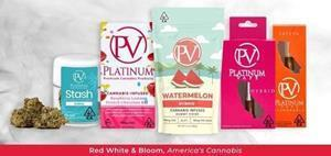 Image 1: A strategic selection of Platinum's popular vape products including Indica, sativa, hybrid, and other award- winning Platinum brand products