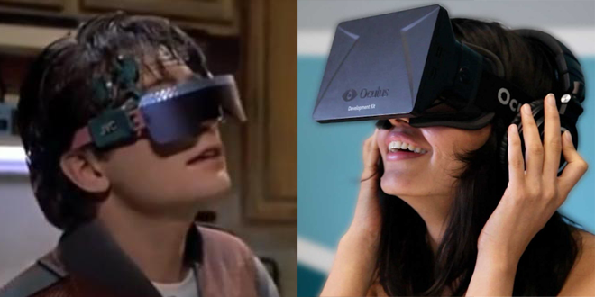 """<p>During one scene in the fictional 2015 of <i>Back to the Future Part II</i>, Marty Jr. and his sister wear """"video glasses"""" to the dinner table so they can watch TV and take video calls while multitasking the usual family time obligations. </p><p>Yeah, that's hitting a little close to home. The film's flash-forward conception of head-mounted perpetual connectivity seems eerily prescient when compared with something like Google Glass. The McFly family's gizmos also resemble the next wave of full-featured VR headsets — like the <a href=""""https://www.oculus.com/en-us"""" rel=""""nofollow noopener"""" target=""""_blank"""" data-ylk=""""slk:Oculus Rift"""" class=""""link rapid-noclick-resp"""">Oculus Rift</a> and its competitors — expected to hit retail shelves in force early next year.</p>"""