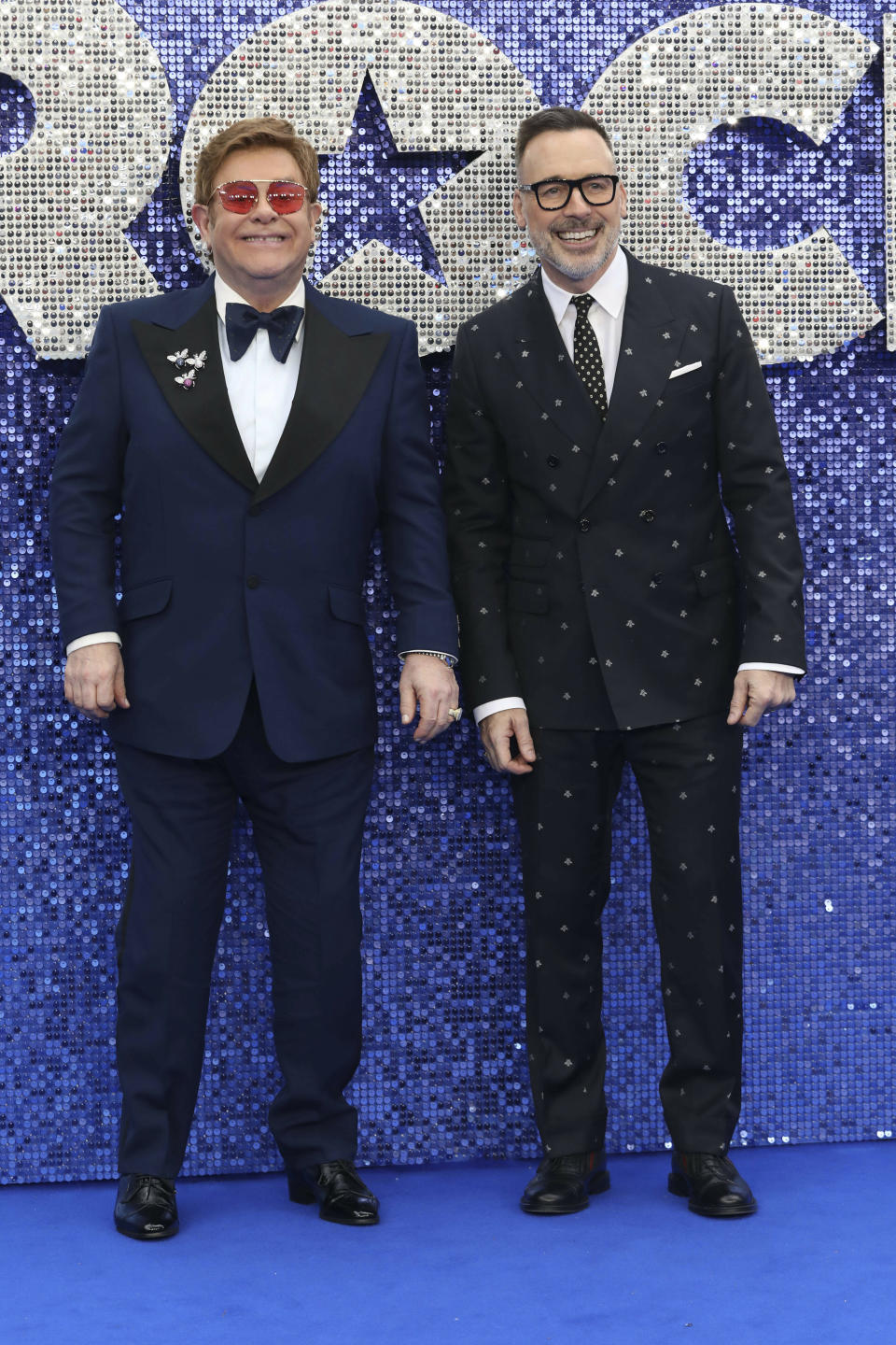Photo by: KGC-247/STAR MAX/IPx 2019 5/20/19 Elton John and David Furnish at the premiere of 'Rocketman' in London, England.