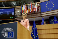 European Commission President Ursula von der Leyen addresses the plenary during her first State of the Union speech at the European Parliament in Brussels, Wednesday, Sept. 16, 2020. European Commission President Ursula von der Leyen will set out her vision of the future in her first State of the European Union address to the EU legislators. Weakened by the COVID-19 pandemic and the departure of the United Kingdom, she will center her speech on how the bloc should adapt to the challenges of the future, including global warming, the switch to a digital economy and immigration. (Olivier Hoslet, Pool via AP)