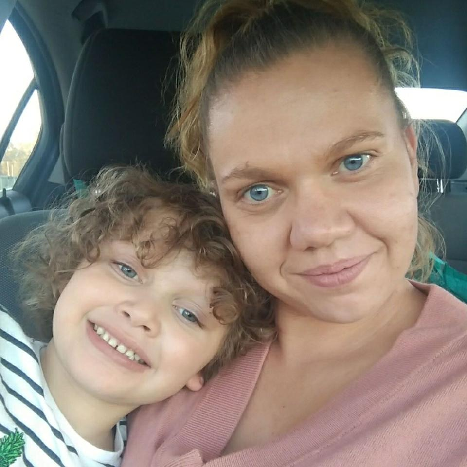 Haylie Beckett pictured with her five-year-old autistic son Jace.