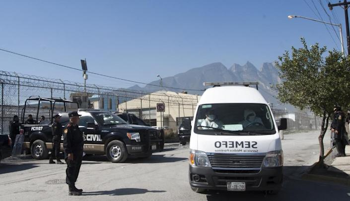 An ambulance leaves Topo Chico prison in Monterrey, Mexico on February 11, 2016 after a riot killed 49 inmates (AFP Photo/Julio Cesar Aguilar)