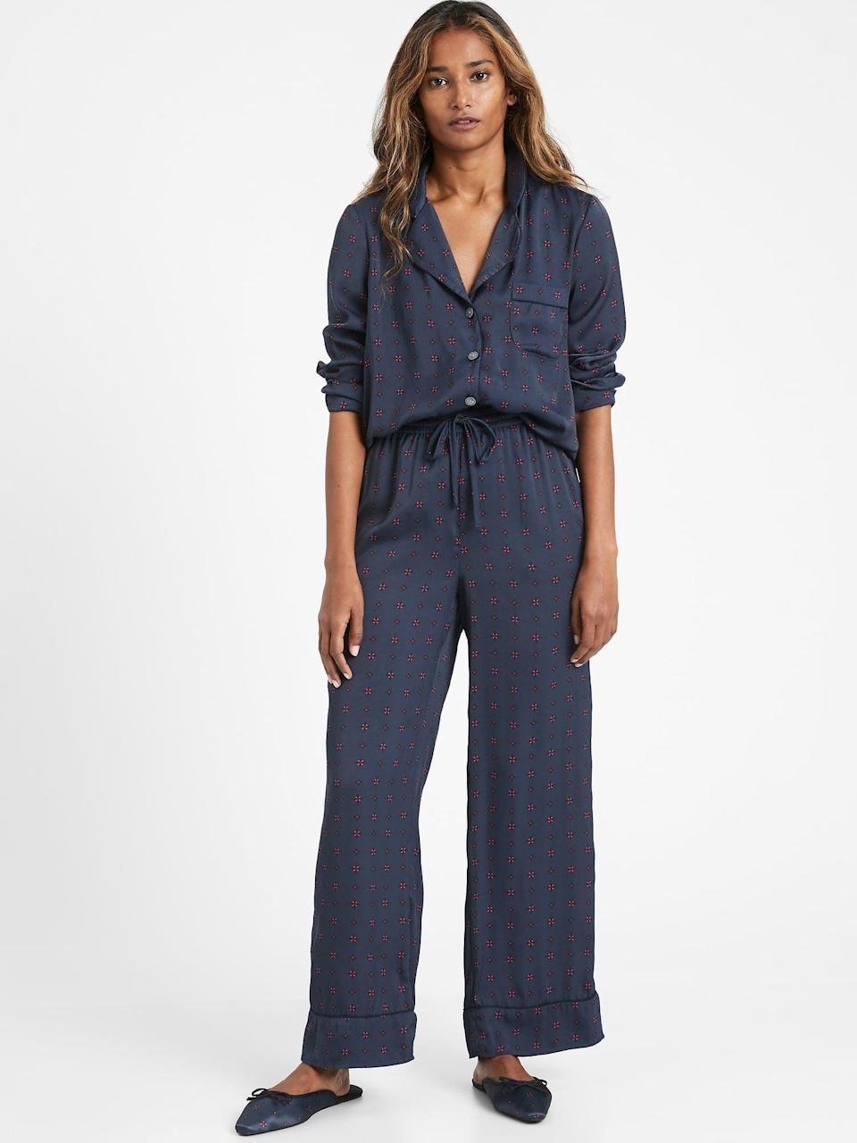 <p>Stay comfy yet luxe in this <span>Satin Pajama Set</span> ($76, originally $109).</p>