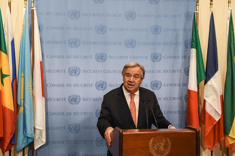 "UN Secretary-General Antonio Guterres ""is alarmed at the persistent allegations of the use of chemical weapons in the Syrian Arab Republic,"" said a UN statement"