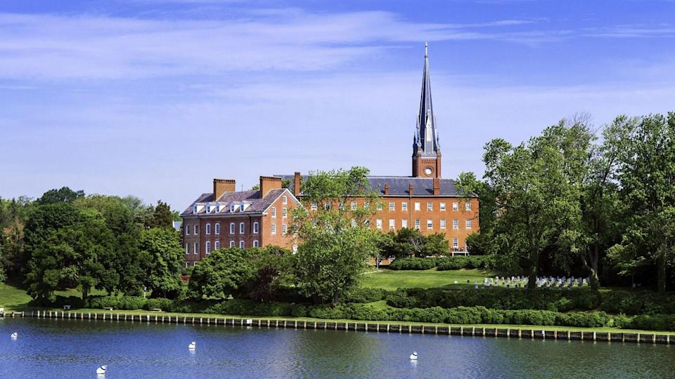 Mandatory Credit: Photo by John Greim/Shutterstock (5224658m)Historic Charles Carroll House and St Mary's Church, Annapolis, Maryland, USAMaryland, America.
