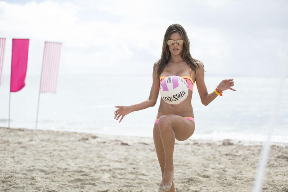 The Brazilian-native shows off her soccer skills.