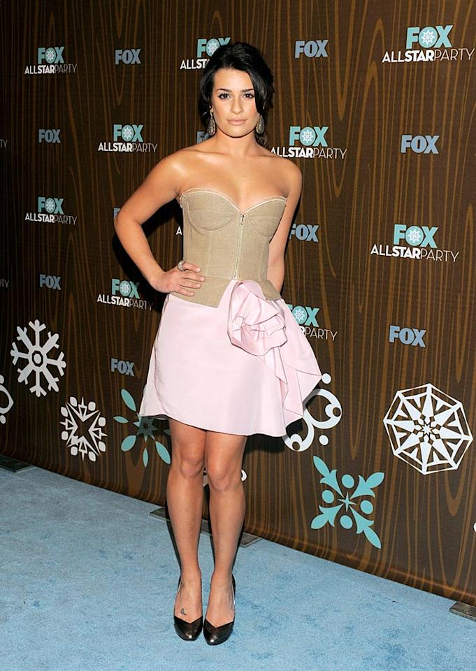 "Hours after her critically-acclaimed series ""Glee"" was officially picked up for a second season at the Television Critics Association conference in Pasadena, California, Lea Michele wowed the crowd at the FOX All Star Party in a stunning, two-tone strapless cocktail frock courtesy of Isaac Mizrahi. Todd Williamson/<a href=""http://www.wireimage.com"" target=""new"">WireImage.com</a> - January 11, 2010"