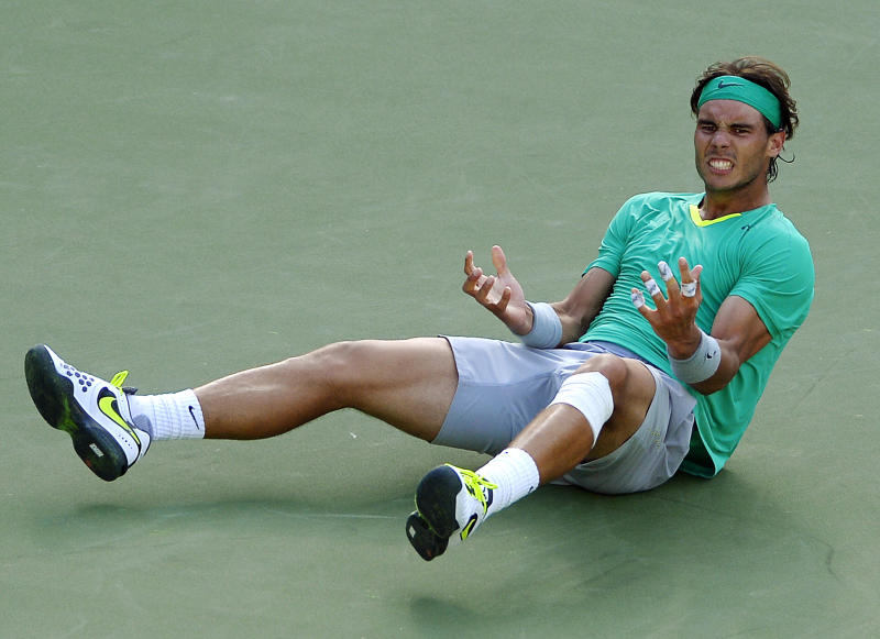 Rafael Nadal, of Spain, reacts to winning his match against Juan Martin del Potro, of Argentina, 4-6, 6-3, 6-4 at the BNP Paribas Open tennis tournament, Sunday, March 17, 2013, in Indian Wells, Calif. (AP Photo/Mark J. Terrill)