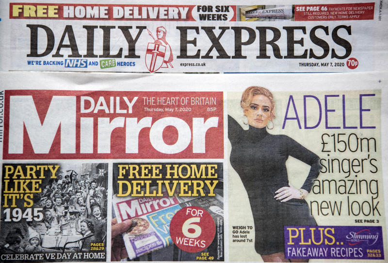 Copies of the Daily Express and Daily Mirror newspapers. The publisher behind the Mirror and Express newspapers has revealed a slump in advertising revenues as companies rein in spending due to the coronavirus outbreak.