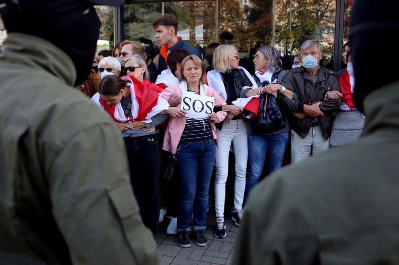 FILE PHOTO: Belarusian opposition supporters protest against presidential election results in Minsk