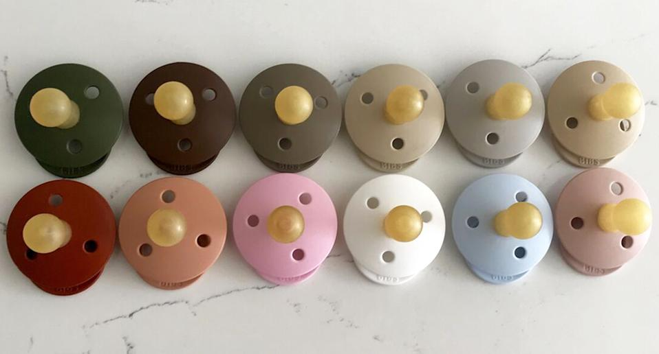Pictured are BIBS Dummies in various colours