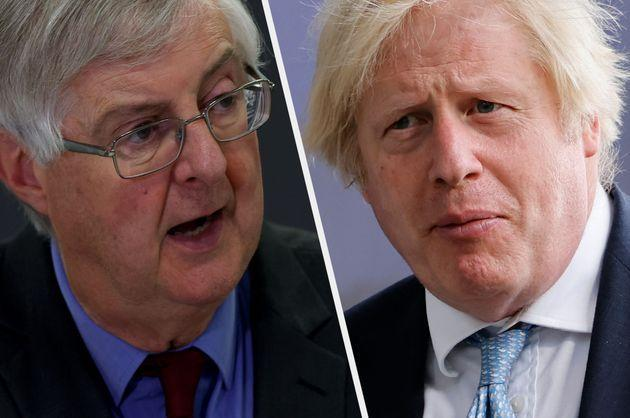Wales first minister Mark Drakeford and prime minister Boris Johnson (Photo: Huw Fairclough/Getty Images / TOLGA AKMEN/POOL/AFP via Getty Images)