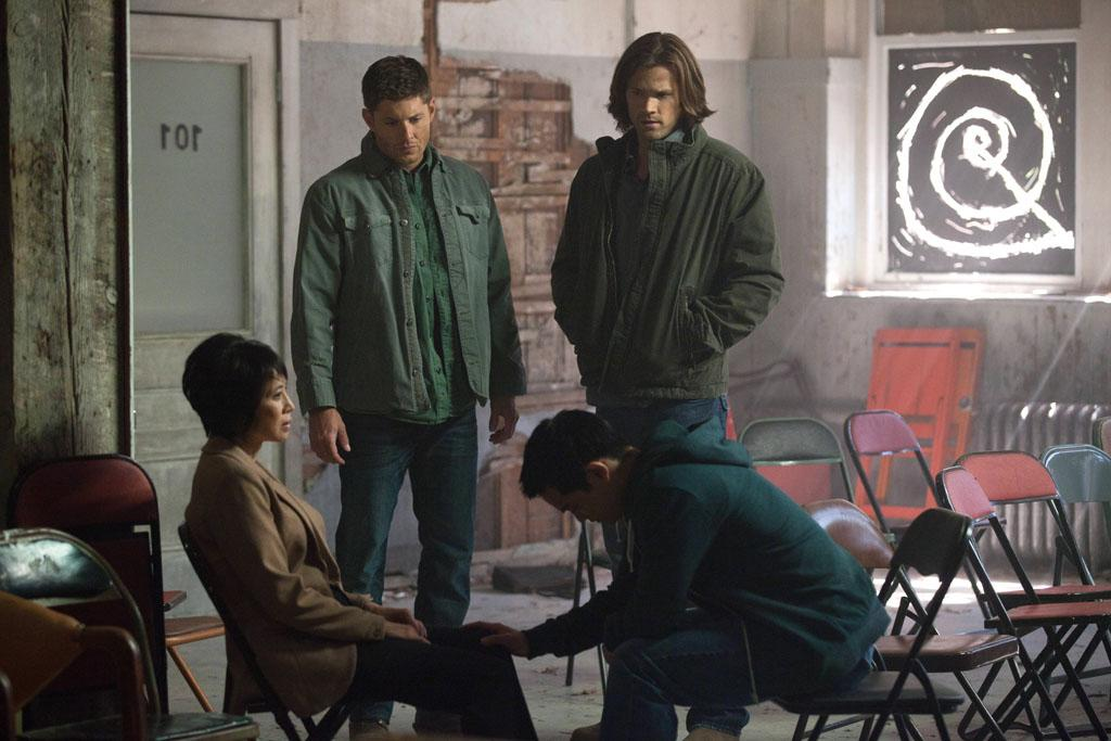 "Lauren Tom as Ms Tran, Jensen Ackles as Dean, Jared Padalecki as Sam and Osric Chau as Kevin in the ""Supernatural"" episode, ""What's Up, Tiger Mommy?."""