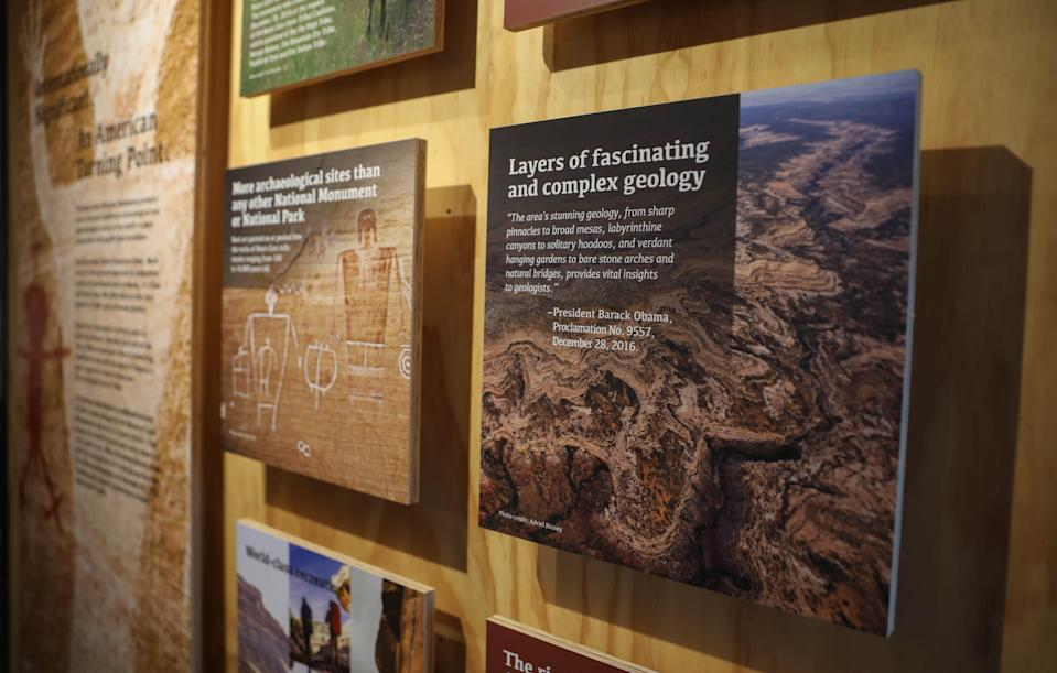 A quote from President Barack Obama, who declared the national monument at Bears Ears, is displayed at the Bears Ears Education Center in Bluff, Utah.