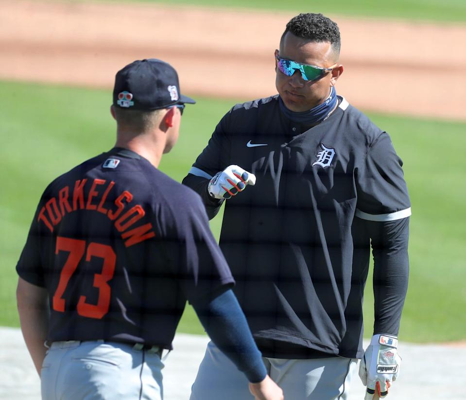 Detroit Tigers infielders Miguel Cabrera and Spencer Torkelson talk Friday, Feb. 26, 2021 at Publix Field at Joker Marchant Stadium in Lakeland, Florida.