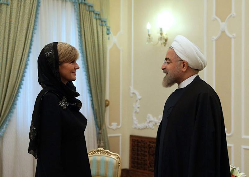 Australia fm hails iran effort to defeat is handout picture released by the official website of the iranian president hassan rouhani shows him m4hsunfo