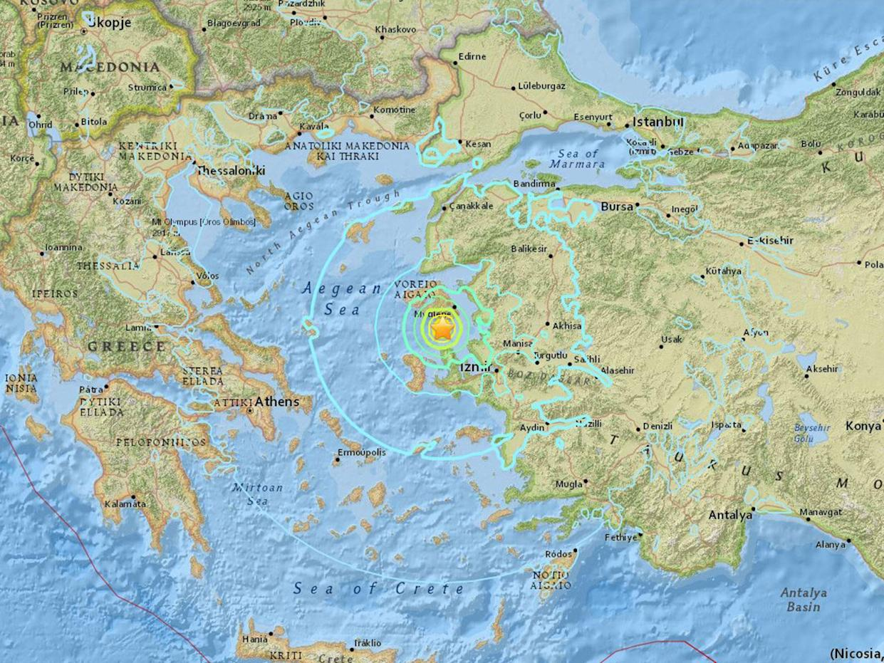 The epicentre of the quake was located some 84 km (52 miles) northwest of the Aegean coastal province of Izmir: US Geological Survey