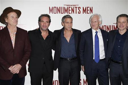 "Cast members Bill Murray, Jean Dujardin, George Clooney, writer Robert Morse Edsel and actor Matt Damon arrive for the French premiere of ""The Monuments Men"" in Paris"