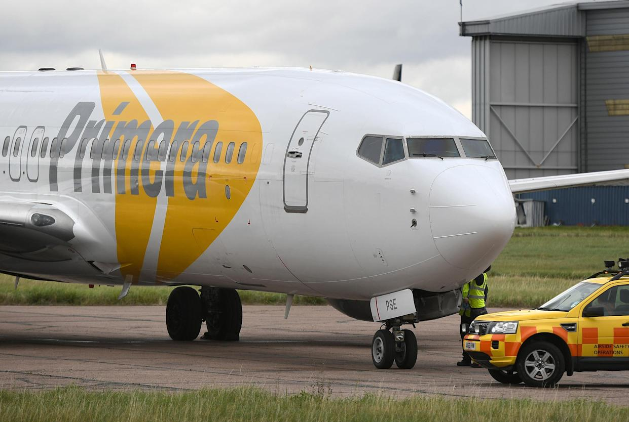 A Primera plane at Stansted Airport, the Danish discount airline has ceased operations ahead of filling for bankruptcy and passengers have been warned not to turn up for flights. (Photo by Joe Giddens/PA Images via Getty Images)