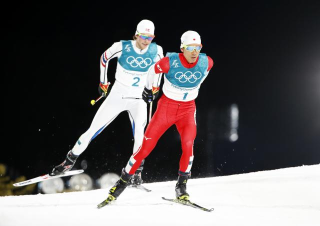 Nordic Combined Events - Pyeongchang 2018 Winter Olympics - Men's Individual 10 km Final - Alpensia Cross-Country Skiing Centre - Pyeongchang, South Korea - February 20, 2018 - Akito Watabe of Japan and Jarl Magnus Riiber of Norway in action. REUTERS/Dominic Ebenbichler