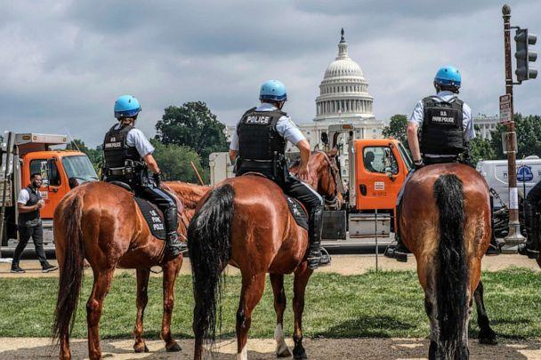 PHOTO: Horse mounted officers stand guard in front of the U.S. Capitol, Sept. 18, 2021. (Probal Rashid/LightRocket via Getty Images)