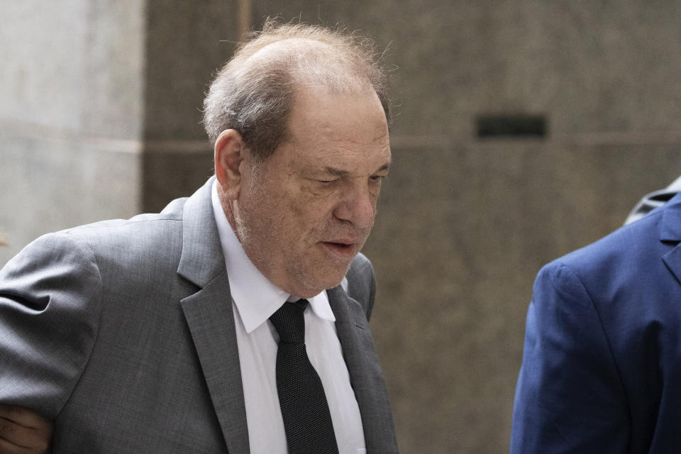 Harvey Weinstein arrives at court for a bail hearing, Friday, Dec. 6, 2019 in New York. (AP Photo/Mark Lennihan)