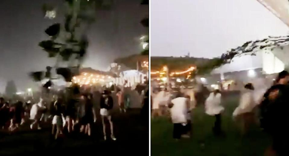 A wild thunderstorm lashed the festival before the headline act. Source: Twitter/Gabriellemxry