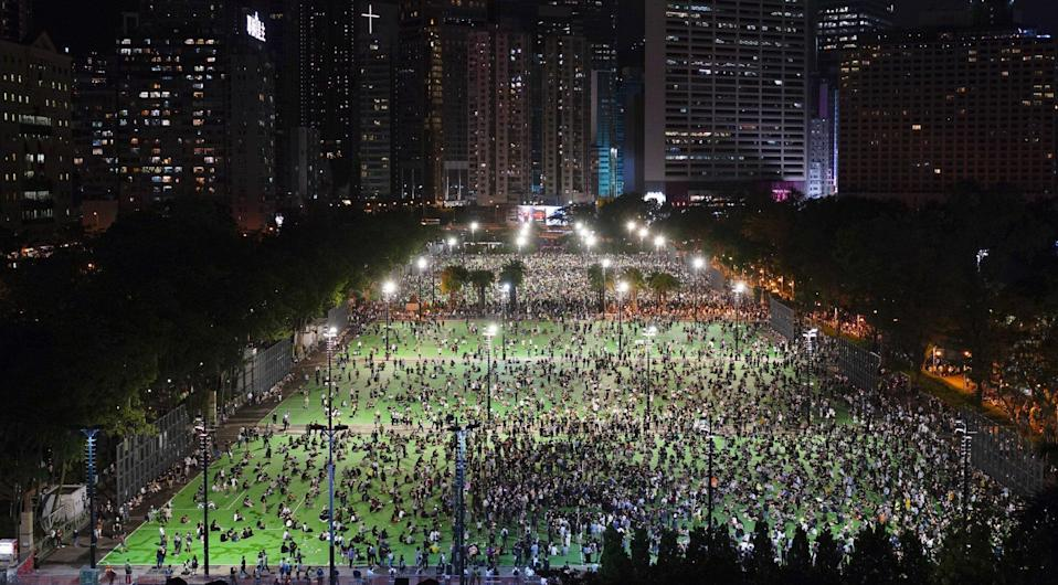 Despite Hong Kong police rejecting the application for the event, thousands turned up for the annual Tiananmen Square commemoration last year. Photo: Robert Ng