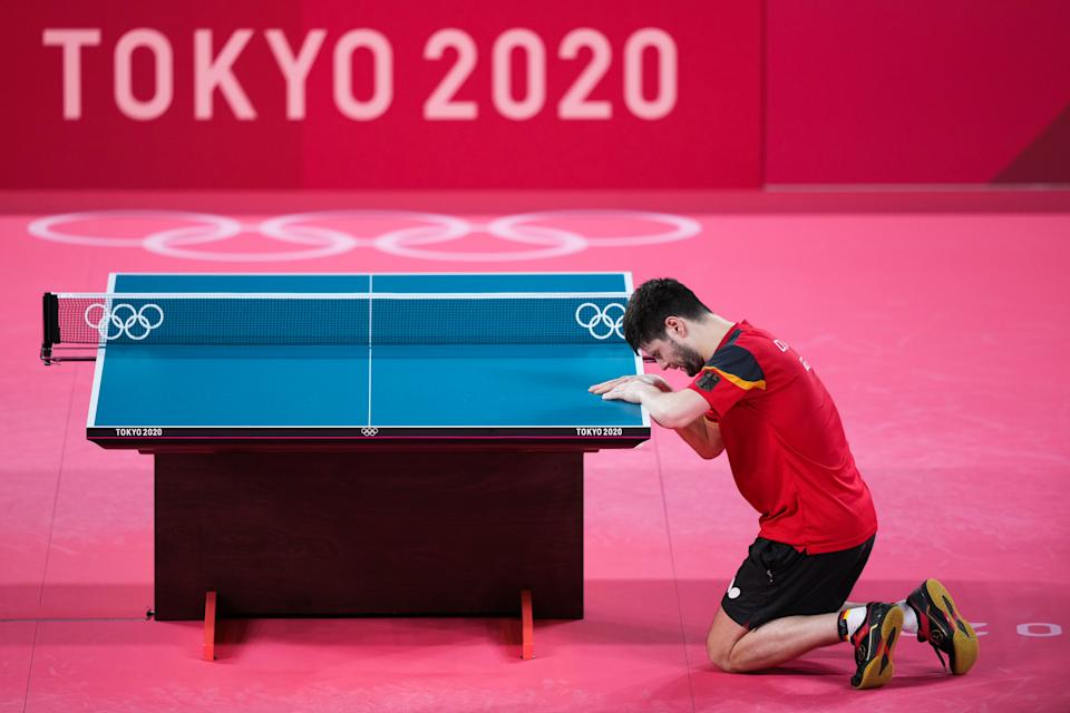 TOKYO, JAPAN - JULY 30: Dimitrij Ovtcharov of Team Germany celebrates after defeating Lin Yun-ju of Team Chinese Taipei in Men's Table Tennis Singles Bronze Medal match on day seven of the Tokyo 2020 Olympic Games at Tokyo Metropolitan Gymnasium on July 30, 2021 in Tokyo, Japan. (Photo by Ni Minzhe/CHINASPORTS/VCG via Getty Images)